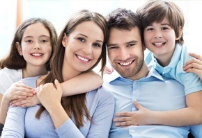 Smiling young family